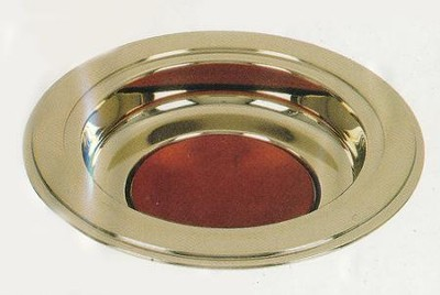 Brass Tone Offering Plate, Burgundy Pad  -
