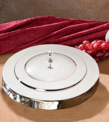 Communion Tray Cover, Silver Finish   -