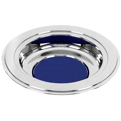 Silver Tone Offering Plate, Blue Pad  -