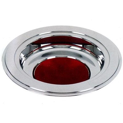 Silver Tone Offering Plate, Burgundy Pad  -