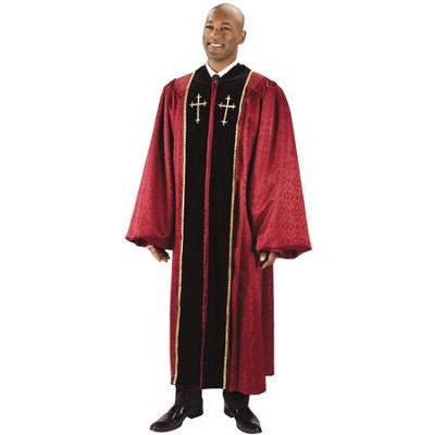 Burgundy Jacquard Pulpit Robe with Embroidered Gold Crosses, 55  -