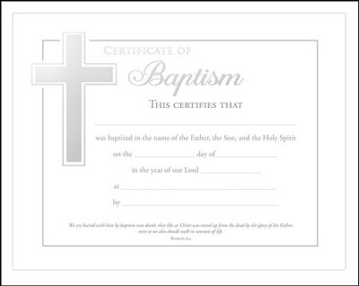 Baptism Certificates (Romans 6:4) Pack of 6  -