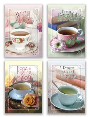 Tea For Two, Box of 12 Assorted Get Well Cards (KJV)  -