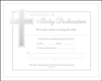 Baby Dedication Certificates (Isaiah 54:13) Pack of 6  -