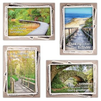 Along His Path, Box of 12 Assorted Birthday Cards (KJV)  -