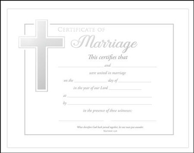 Marriage Certificates (Matthew 19:6) Pack of 6  -