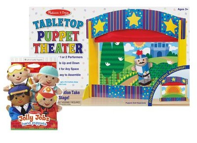 Tabletop Theater with Jolly Jobs Hand Puppets   -