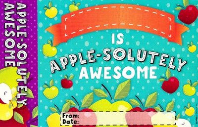 Apple-solutely Awesome Bookmark Award, Pack of 30  -