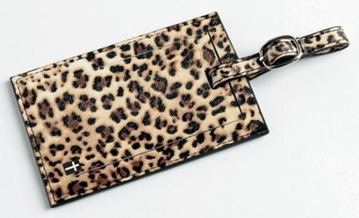 Luggage Tag with Cross, Leopard  -