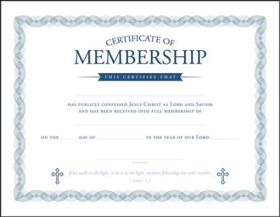 Membership Certificates (1 John 1:7) Package of 6  -