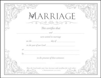 Marriage Certificates (1 Thessalonians 3:12, NIV) Package of 6  -