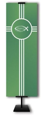 Ichthus on Trinity Cross on Green Field Fabric Banner, 2' x 6'  -