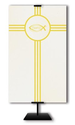 Ichthus on Trinity Cross on Cream Field Fabric Banner, 3' x 5'  -