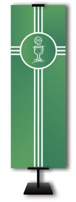 Communion Cup on Trinity Cross on Green Field Fabric Banner, 2' x 6'  -