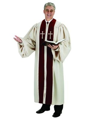Ivory Pulpit Robe with Burgundy Velvet & Ivory Cross Embroidery, 53 in.   -