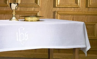 Linen Altar Frontal, with IHS Design   -