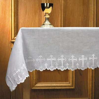 Linen Scalloped-Edge Altar Frontal, Cross Embroidery   -