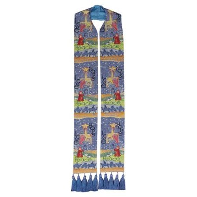 Story of Christmas Tapestry Stole with Tassles  -