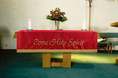 Maltese Jacquard Altar Frontal, Red (Come, Holy Spirit)  -