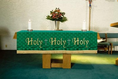 Maltese Jacquard Altar Frontal, Green (Holy, Holy, Holy)  -