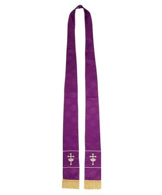 Maltese Jacquard Stole, Purple  -
