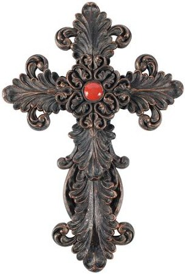 Scroll Work Red Wall Cross  -