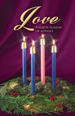 Traditional Wreath Advent Love Bulletins, 100   -
