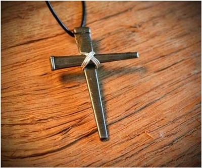 Ironfish Wire Wrapped Nail Cross Pendant   -