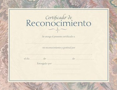 Certificado de Reconocimiento, Paquete de 6 (Certificate of Appreciation, Pack of 6)  -