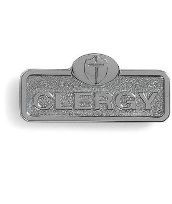 Clergy Badge with Cross, Silver  -
