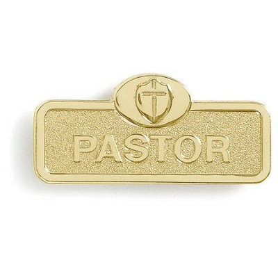 Pastor Badge with Cross, Brass  -
