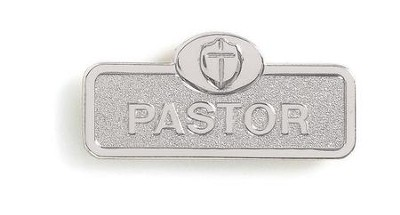Pastor Badge with Cross, Silver  -