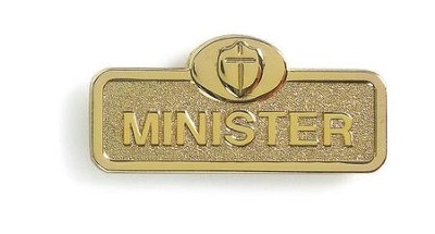 Minister Badge with Cross, Brass  -
