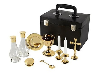 Deluxe Clergy Mass Kit, Polished Brass  -