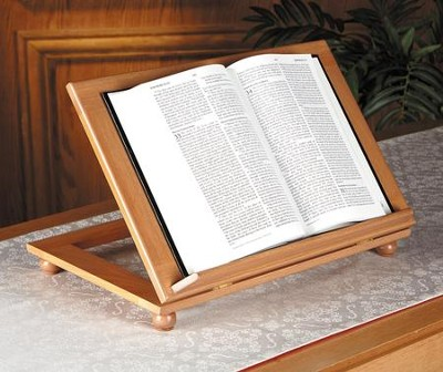 Adjustable Wood Bible Stand, Pecan Finish  -