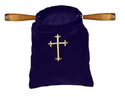 Gold Cross Embroidered Offering Bag, Purple  -