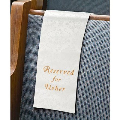Embroidered Jacquard Usher Reserve Cloth, White, Set of 4   -