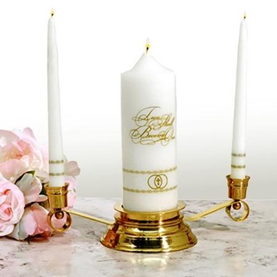 Two Shall Become One, Wedding Unity Candle Set, Gold  -