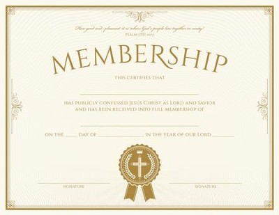 Membership (Psalm 133:1, NIV) Foil Embossed Certificates, Pack of 6  -