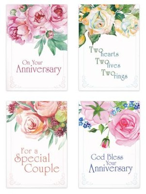 Two Hearts One Love (NIV) Box of 12 Anniversary Cards  -