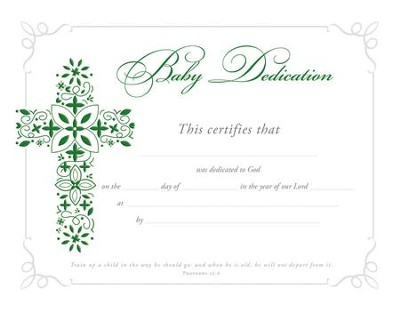 Baby Dedication (Proverbs 22:6) Foil Embossed Certificates, Pack of 6  -