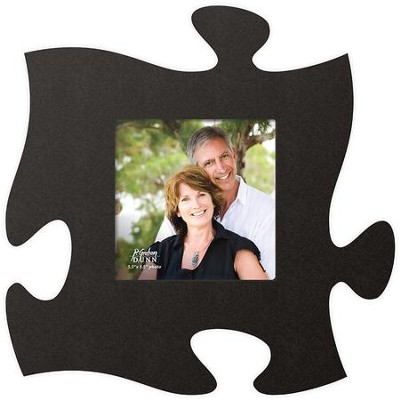 Puzzle Piece Photo Frame, Black  -