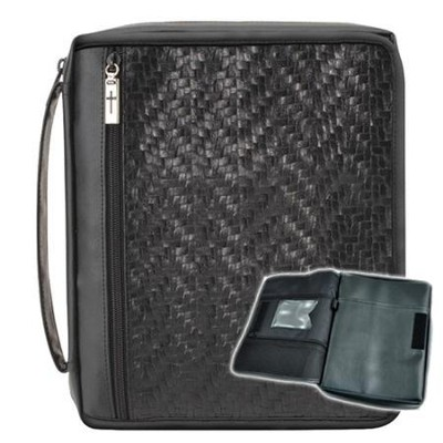 Black Woven Organizer Bible Cover, Large   -