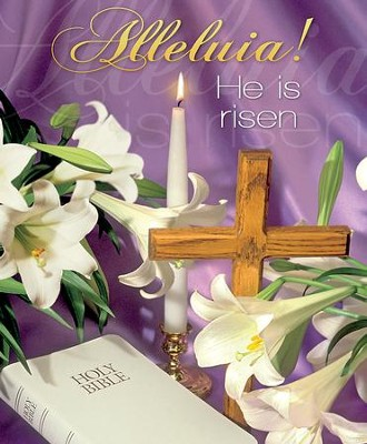 Alleluia! He is Risen Lilies Bible and Candle Large Bulletins, 100  -