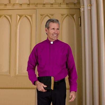 Men's Long Sleeve Clergy Shirt with Tab Collar: Church Purple, Size 15 x 34/35  -