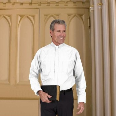 Men's Long Sleeve Clergy Shirt with Tab Collar: White, Size 19 x 32/33  -