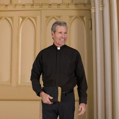 Men's Long Sleeve Clergy Shirt with Tab Collar: Black, Size 18.5 x 34/35  -