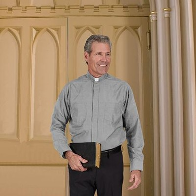 Men's Long Sleeve Clergy Shirt with Tab Collar: Gray, Size 14.5 x 34/35  -
