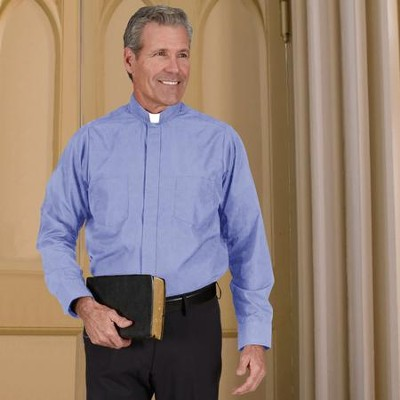 Men's Long Sleeve Clergy Shirt with Tab Collar: Medium Blue, Size 18 x 34/35  -