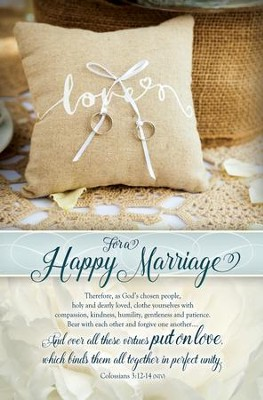 For a Happy Marriage (Colossians 3:12-14, NIV) Bulletins, 100  -
